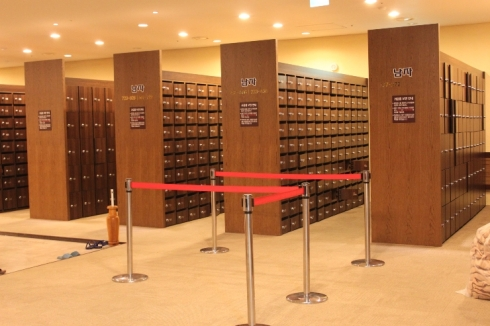 The shoe lockers at my favorite jjimjilbang, Spa LaQua