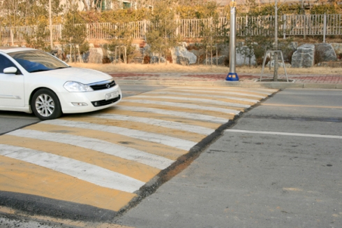 Almost all speed bumps in Korea are painted with this pattern.