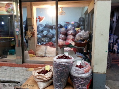 These are bags of dried hot peppers. Koreans love their hot peppers.