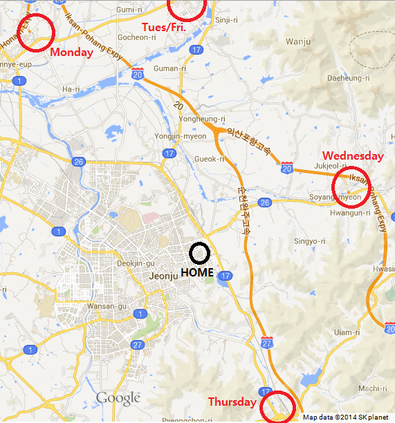 Jeonju The GreenWalled Tower - Jeongju map
